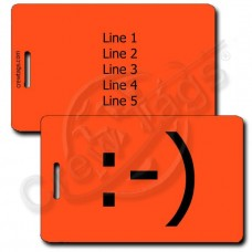 CLASSIC SMILEY EMOTICON PERSONALIZED LUGGAGE TAG :-) FLUORESCENT ORANGE