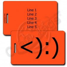 COWBOY EMOTICON PERSONALIZED LUGGAGE TAG <):) FLUORESCENT ORANGE
