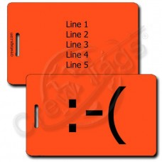 FROWN EMOTICON PERSONALIZED LUGGAGE TAG  :-(  FLUORESCENT ORANGE