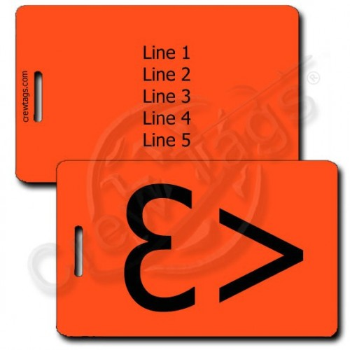 PERSONALIZED HEART EMOTICON LUGGAGE TAG <3 NEON ORANGE