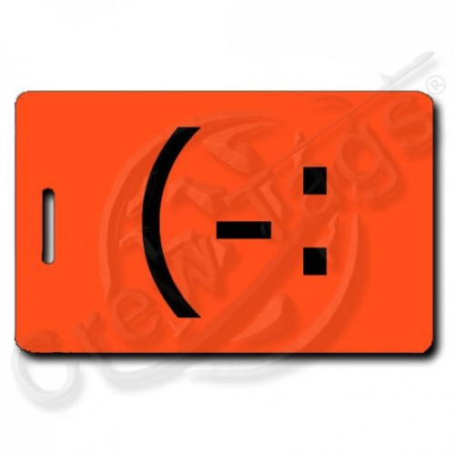 LEFT HANDED SMILE PERSONALIZED EMOTICON (-: FLUORESCENT ORANGE
