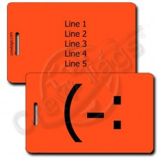 LEFT HANDED SMILE EMOTICON LUGGAGE TAG (-: NEON ORANGE