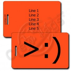 LITTLE DEVIL EMOTICON PERSONALIZED LUGGAGE TAG >:)  FLUORESCENT ORANGE