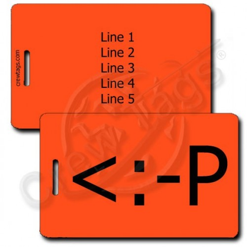 PARTY EMOTICON PERSONALIZED LUGGAGE TAG <:-P FLUORESCENT ORANGE