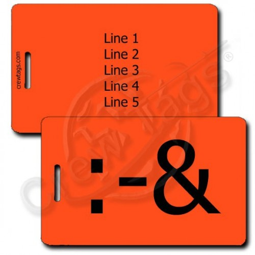 PUKE EMOTICON PERSONALZIED LUGGAGE TAG :-&  FLUORESCENT ORANGE