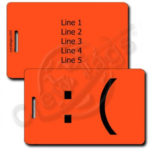 SAD EMOTICON PERSONALIZED LUGGAGE TAG :( FLUORESCENT ORANGE