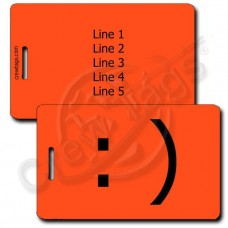 SMILEY EMOTICON PERSONALIZED LUGGAGE TAG :) FLUORESCENT ORANGE