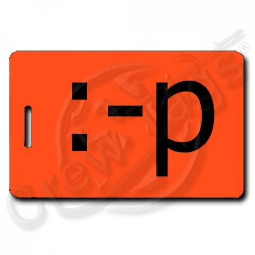 STICKING TONGUE OUT EMOTICON LUGGAGE TAG :-p FLUORESCENT ORANGE