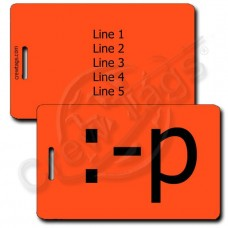 STICKING OUT TONGUE EMOTICON LUGGAGE TAG :-p NEON ORANGE