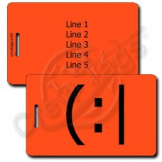 TIRED EMOTICON LUGGAGE TAG  (:| FLUORESCENT ORANGE