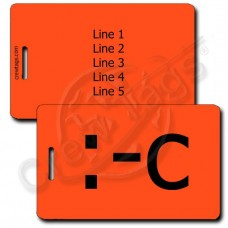 PERSONALIZED VERY UNHAPPY EMOTICON LUGGAGE TAG :-C NEON ORANGE