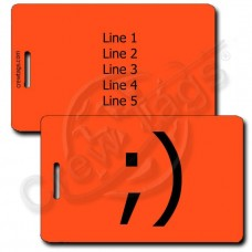 WINK EMOTICON LUGGAGE TAG ;) FLUORESCENT ORANGE