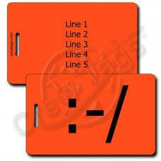 WRY EMOTICON LUGGAGE TAG:-/ FLUORESCENT ORANGE