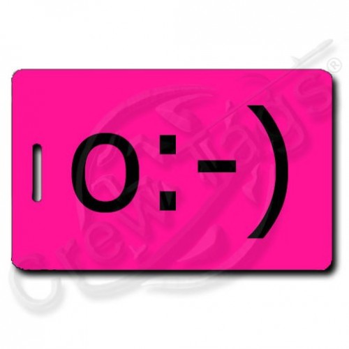 NEON PINK ANGEL EMOTICON LUGGAGE TAG