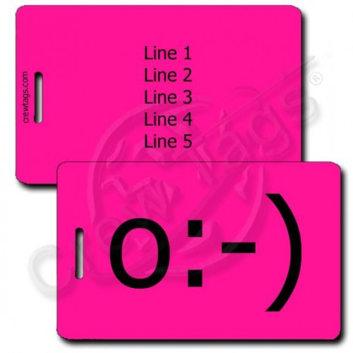 ANGEL EMOTICON LUGGAGE TAG o:-) NEON PINK