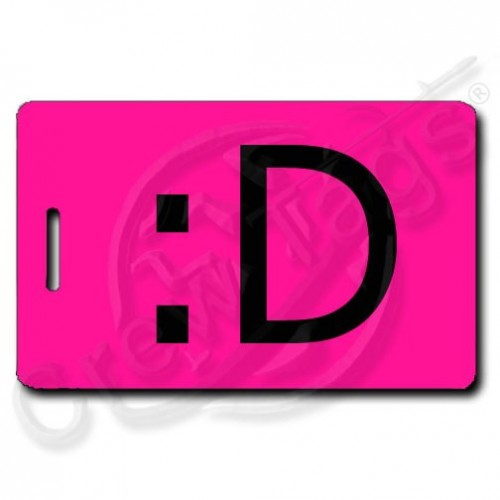 PERSONALIZED BIG GRIN EMOTICON LUGGAGE TAG :D NEON PINK