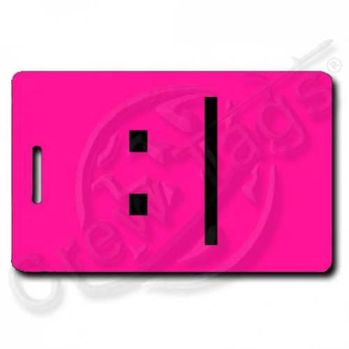 BORED EMOTICON LUGGAGE TAG :| FLUORESCENT PINK