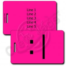 BORED EMOTICON PERSONALIZED LUGGAGE TAG  :| NEON PINK