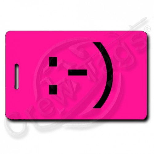 CLASSIC SMILEY PERSONALIZED EMOTICON LUGGAGE TAG :-) NEON PINK