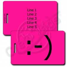 CLASSIC SMILEY PERSONALIZED EMOTICON LUGGAGE TAGS :-) NEON PINK