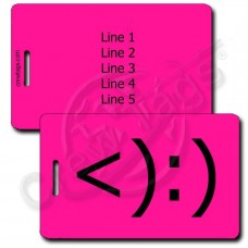 PERSONALIZED COWBOY EMOTICON LUGGAGE TAG <):) NEON PINK