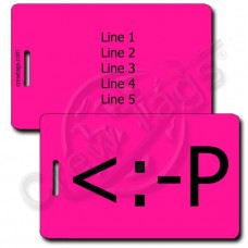 PERSONALIZED PARTY EMOTICON LUGGAGE TAG <:-P NEON PINK