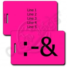 PERSONALIZED PUKE EMOTICON LUGGAGE TAG :-& NEON PINK