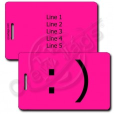 PERSONALIZED SMILEY EMOTICON LUGGAGE TAG :) NEON PINK