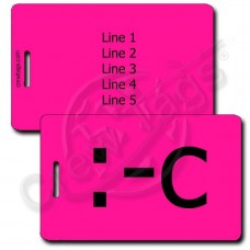 PERSONALIZED VERY UNHAPPY EMOTICON LUGGAGE TAG :-C NEON PINK
