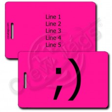 PERSONALIZED WINK EMOTICON LUGGAGE TAG ;) NEON PINK