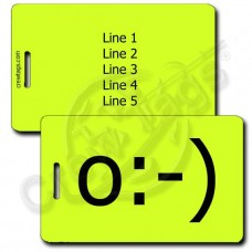 ANGEL EMOTICON LUGGAGE TAG o:-) NEON YELLOW