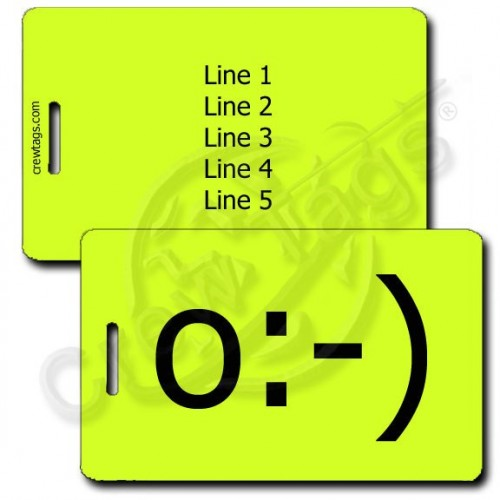 ANGEL EMOTICON PERSONALIZED LUGGAGE TAG o:-) NEON YELLOW