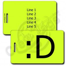 BIG GRIN EMOTICON PERSONALIZED LUGGAGE TAG :D NEON YELLOW