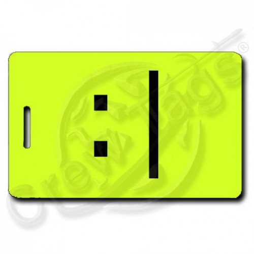 NEON YELLOW BORED LUGGAGE TAG