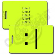BORED EMOTICON PERSONALIZED LUGGAGE TAG  :| NEON YELLOW