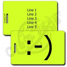 CLASSIC SMILEY EMOTICON LUGGAGE TAG :-) NEON YELLOW
