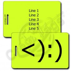 PERSONALIZED COWBOY EMOTICON LUGGAGE TAG <):) NEON YELLOW