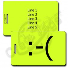 PERSONALIZED FROWN EMOTICON LUGGAGE TAG  :-(  NEON YELLOW