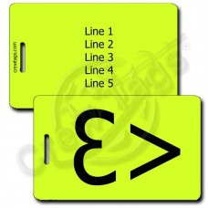 PERSONALIZED HEART EMOTICON LUGGAGE TAG <3 NEON YELLOW