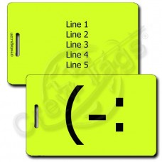 LEFT HANDED SMILE EMOTICON LUGGAGE TAG (-: NEON YELLOW