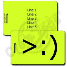 PERSONALIZED LITTLE DEVIL EMOTICON LUGGAGE TAG >:) NEON YELLOW