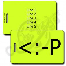 PERSONALIZED PARTY EMOTICON LUGGAGE TAG <:-P NEON YELLOW