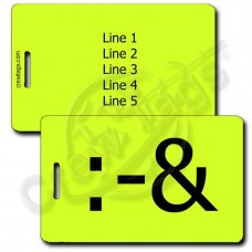 PERSONALIZED PUKE EMOTICON LUGGAGE TAG :-& NEON YELLOW