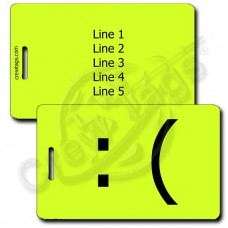 PERSONALIZED SAD EMOTICON LUGGAGE TAG :( NEON YELLOW