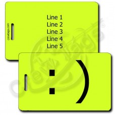 SMILEY EMOTICON LUGGAGE TAG :) NEON YELLOW