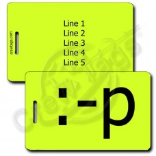 STICKING OUT TONGUE EMOTICON LUGGAGE TAG :-p NEON YELLOW