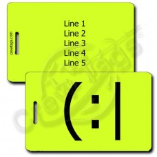 PERSONALIZED TIRED EMOTICON LUGGAGE TAG (:| NEON YELLOW