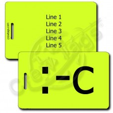 PERSONALIZED VERY UNHAPPY EMOTICON LUGGAGE TAG :-C NEON YELLOW