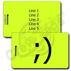 PERSONALIZED WINK EMOTICON LUGGAGE TAG ;) NEON YELLOW