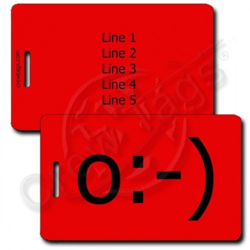 ANGEL EMOTICON PERSONALIZED LUGGAGE TAGS o:-) RED